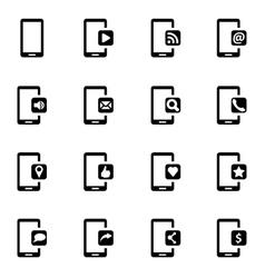 black mobile icon set vector image