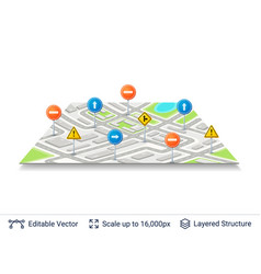 abstract city plan with road signs vector image