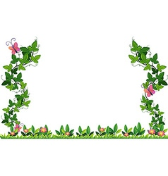 Border design with vine and butterflies vector