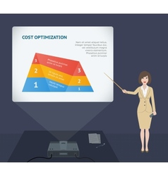 Business woman presentation speech with projector vector image vector image