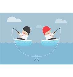 Businessman and his rival having trouble with fish vector image vector image