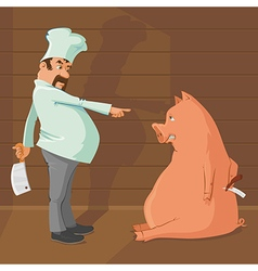 Butcher and pig vector