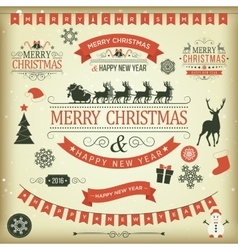 Christmas set labels emblems vector image