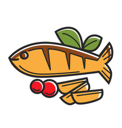 cyprus greek traditional cuisine fish vector image