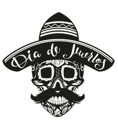 Dia de muertos day of dead black skull in mexican vector