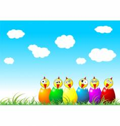 Easter chicks on grass vector image vector image