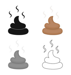 Faeces icon in cartoon style for web vector