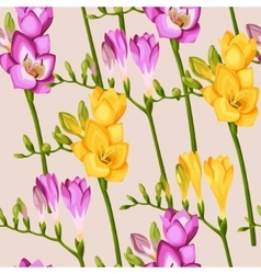 Freesia twigs seamless background vector image vector image