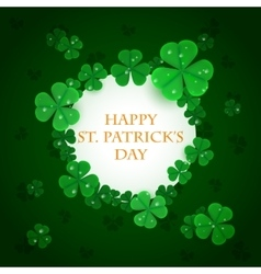 Green clovers Saint Patrick s Day white circle vector image vector image