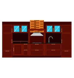 kitchen flat design interior room furniture table vector image
