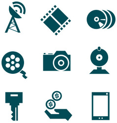 Media technologies icons set vector image vector image