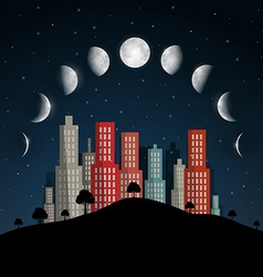 Moon Phases Night Abstract City vector image vector image