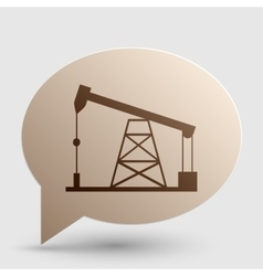 Oil drilling rig sign brown gradient icon on vector