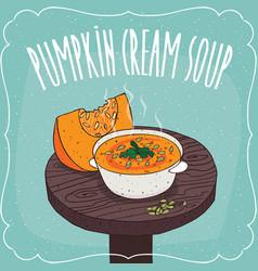 Pumpkin cream soup with fresh cut pumpkin vector