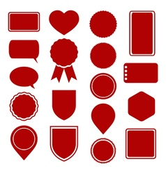 red icons and labels set vector image