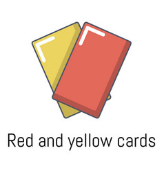 red yellow card icon cartoon style vector image