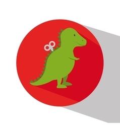Rex dinosaur in train wagon vector