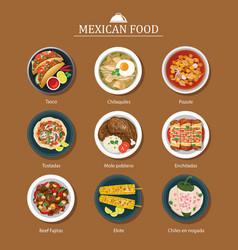 Set of mexican food flat design vector