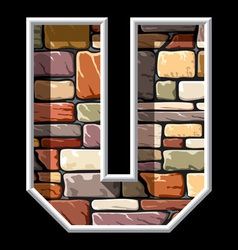 stone letter U vector image vector image