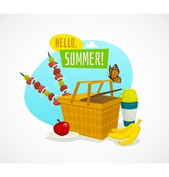 Summer picnic concept cartoon basket with food vector
