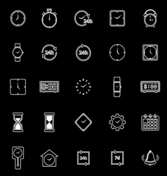 Time line icons on black background vector image