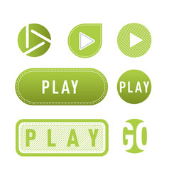 ui interface green button play media internet vector image