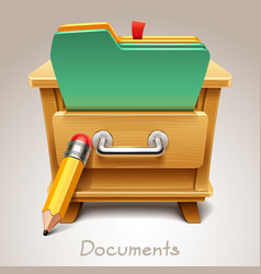wooden drawer for documents icon vector image