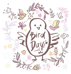 Greeting card of the bird day vector