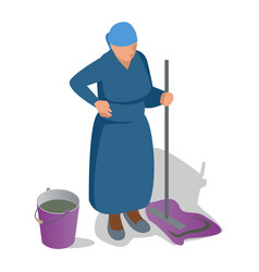 an old woman with a mop in her hand and a bucket vector image