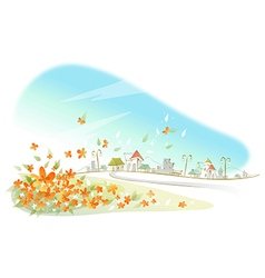 Flowers near city vector