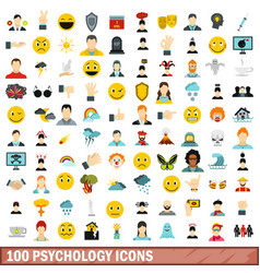 100 psychology icons set flat style vector