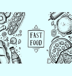 Fast food hand drawn retro background vector