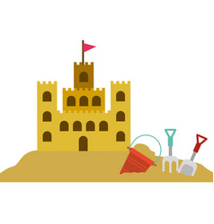 Color silhouette with sand castle and set tools vector
