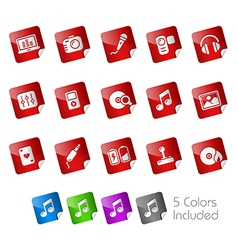 Media entertainment stickers vector