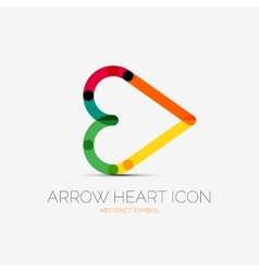 Arrow heart icon company logo business concept vector