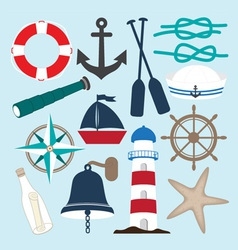 Nautical objects collection vector