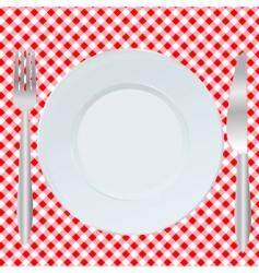 Plate fork and spoon vector