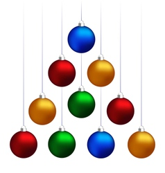 Christmas balls hanging like fir tree vector