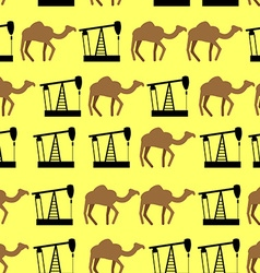 Desert camels and oil pumps seamless pattern vector