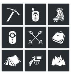 Alpinism climbing the mountain icons set vector