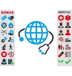 Global medicine icon vector