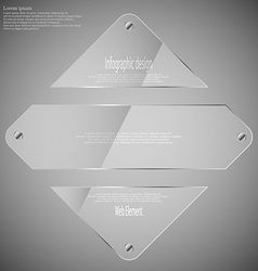 Glass rhombus divided to three parts infographic vector
