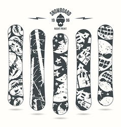 Halloween print for snowboard vector