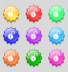 Open lock icon sign symbol on nine wavy colourful vector
