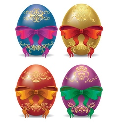 Colorful eggs with bows2 vector