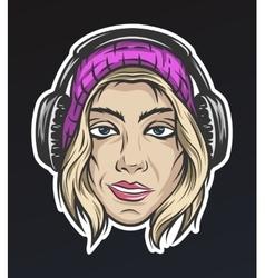 Girl in winter hat and headphones vector image