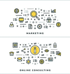 Thin line marketing and online consulting concepts vector