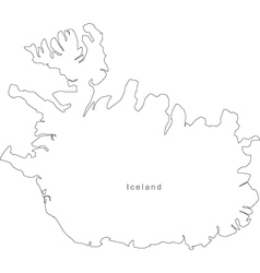 Black White Iceland Outline Map vector image