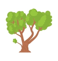 A tree with a spreading green crown icon vector