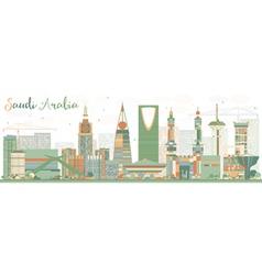 Abstract saudi arabia skyline with color landmarks vector